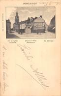 80 MONTDIDIER - Rue De L'église St-Pierre, Statue Et Place Parmentier, Rue D'Amiens. Carte 1900 Voyagée. - Montdidier