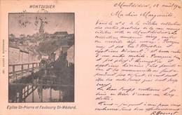 80 MONTDIDIER - Eglise St-Pierre, Statue Et Faubourg St-Médard. Carte 1900 Voyagée. - Montdidier
