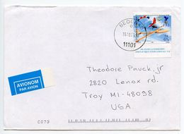 Serbia 2005 Airmail Cover Belgrade To Troy Michigan, Glider Stamp - Serbia