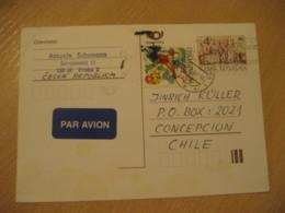 PRAGUE 1997 To Concepcion Chile Cancel Postal Stationery Card CZECH Republic - Tchéquie