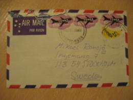 NUKUALOFA 1981 To Stockholm Sweden 4 Adhesive Stamp Plane Banana On Air Mail Cancel Cover TOKELAU - Tonga (1970-...)