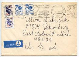 Poland 1991 Airmail Cover Warsaw To U.S., Scott 2921 & 2970 Flower & Juniper - 1944-.... Republic