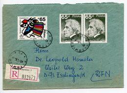 Poland 1989 Registered Cover Katowice To Esslingen Germany, Scott 2756 & 2796 - 1944-.... Republic