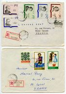 Poland 1973-74 2 Registered Covers Katowice To Epinal France, Mix Of Stamps - 1944-.... Republic