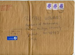 Poland 1993 2 Airmail Covers Katowice To Ypsilanti Michigan, Scott 2979 Iris Flowers - 1944-.... Republic