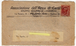 RITAGLIO DI BUSTA - ASSOCIAZIONE DELL'ARMA DI CAVALLERIA - GRUPPO REGIONALE LOMBARDO - MILANO - Vedi Retro - Timbri Generalità