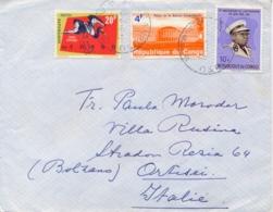 Congo 1966 Cover To Italy With 4 F. Palais De La Nation + 10 F. Independance + 20 F. Bird Jabiru - Repubblica Democratica Del Congo (1964-71)
