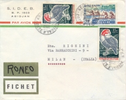 Ivory Coast 1968 Cover To Italy With 2 X 15 F. Bird + 30 F. Olympic Games Of Mexico City - Costa D'Avorio (1960-...)