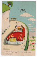 ILLUSTRATEUR J. OSCHWIND * MONTAGNE * CORBEAU * VOITURE * Au Dos FLAMME REINE DES SPORTS ETE HIVER PAU - Other Illustrators