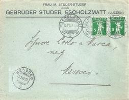 """Motiv Brief  """"Gebrüder Studer, Escholzmatt"""" - Mesocco            1912 - Schweiz"""