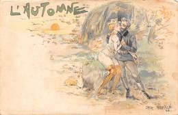 Illustration Illustrateur Jack Abeillé - 1898 - L'automne - Couple Chasseurs & Lapins - Autres Illustrateurs
