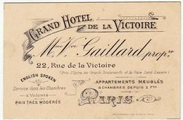 CARTONCINO - BIGLIETTO DA VISITA - GRAND HOTEL DE LA VICTOIRE - PARIS - Vedi Retro - Cartoncini Da Visita