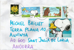 ALLEMAGNE./GERMANY.Snoopy (from Comic Strip Peanuts) & Grufello,  Letter Sent To Andorra, With Arrival Postmark - Comics