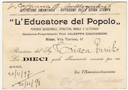 CARTONCINO - RICEVUTA - BIGLIETTO DA VISITA - L'EDUCATORE DEL POPOLO - MILANO - 1898 - Vedi Retro - Cartoncini Da Visita