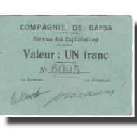 Billet, Tunisie, GAFSA, 1 Franc, Valeur Faciale, 1916, 1916-02-10, TTB+ - Tunisie
