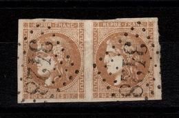 Paire YV 43A Oblitere GC 3428 De Somain, Legeres Froissures, Micro Entaille Nord Du T2, 4 Marges Pas Aminci Cote 200 Eur - 1870 Emission De Bordeaux