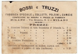 CARTONCINO - RICEVUTA - BIGLIETTO DA VISITA - BOSSI E TRUZZI - MILANO - 1894 - Vedi Retro - Cartoncini Da Visita