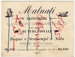 CARTONCINO - RICEVUTA - BIGLIETTO DA VISITA - MALNATI - LATTONIERE - MILANO - 189? - Vedi Retro - Cartoncini Da Visita