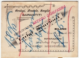 CARTONCINO - RICEVUTA - BIGLIETTO DA VISITA - LUIGI SCARIONI - OROLOGERIA - MILANO - 1896 - Vedi Retro - Cartes De Visite