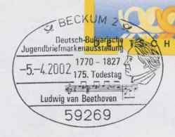 7209  Ludwig Van Beethoven: Oblit. Temp. D'Allemagne, 2002 - Beethoven Pictorial Cancel From Germany - Bulgaria Exp. - Musik