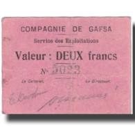Billet, Tunisie, GAFSA, 2 Francs, Valeur Faciale, 1916, 1916-04-25, TTB - Tunisie