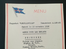 DERNIERS JOURS  PARASTATAL CONGOLAIS OTRACO OFFICE TRANSPORTS COLONIAUX  + 2 VIEUX MENUS BATEAU LÉOPOLDVILLE + 2 PHOTOS - Menus