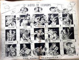 LE GRELOT CARICATURE L'EUROPE EN 1887 PAGE DOUBLE BIEN COMPLET 4 PAGES  BON ETAT 46 X 64 CM - 1850 - 1899