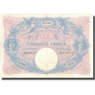 France, 50 Francs, Bleu Et Rose, 1915, 1915-06-10, TTB, Fayette:14.28, KM:64e - 50 F 1889-1927 ''Bleu Et Rose''