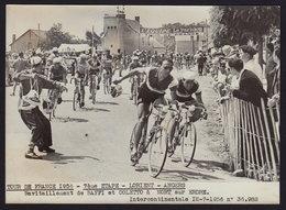 Le Tour De France 1956 LORIENT - ANGERS  - BAFFI Et COLETTO - CYCLISME Press Photo 18 X 13 Cm (see Sales Conditions) - Wielrennen