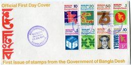 BANGLADESH ENVELOPPE 1er JOUR DES N°1/8 SERIE COURANTE OBLITERATION 1er JOUR MUJIBNAGAR 29 JUL 1971 - Bangladesh