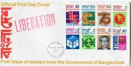 BANGLADESH ENVELOPPE 1er JOUR DES N°9/16 SERIE COURANTE DE 1971 SURCHARGEE OBLITERATION 1er JOUR DACCA 20 DEC 1971 - Bangladesh