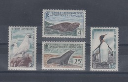 Französische Antarktis 1960 Tiere Satz 4 Werte Mi.-Nr. 19-22  Kpl. **  - Ohne Zuordnung