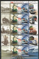 V) 2012 BELARUS, TRAINS, 150TH ANNIVERSARY OF TRAINS IN BELARUS, SOUVENIR SHEET, MNH - Belarus