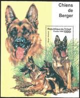 V) 1999 CHAD, DOGS, CHIENS DE BERGER, BERGER ALLEMAND, SOUVENIR SHEET, MNH - Chad (1960-...)