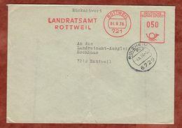 Brief, Rueckantwort, Absenderfreistempel, Landratsamt, 50 Pfg, Rottweil, OT Ruelzheim 1976 (75355) - [7] Repubblica Federale