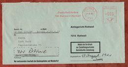 Zustellungsurkunde, Absenderfreistempel, Justizbehoerden, 0 Pfg, Rottweil 1981 (75360) - BRD