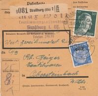 Borderaux : Hindenbourg Surchargé Alsace + Hitler - Strasbourg - Alsace-Lorraine