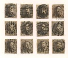 10c Léopold Ier Belgique N°1 Lot De 12 Ex. Toues Ø Différentes  Avec Petits Défauts  Cote > 1080 Euros - 1849 Epaulettes