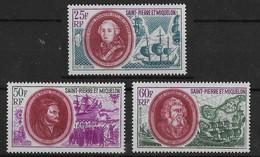 1970  Saint Pierre Et Miquelon N° PA 50 à 52 Nf*  MLH . Poste Aérienne. Personnages : Duc De Choiseul, Cartier,Le Gonard - Luftpost