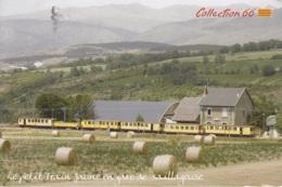 Le Petit Train Jaune En Gare De Saillagouse, Gelaufen - Treni