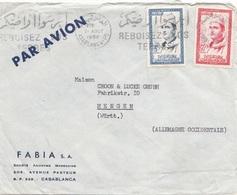 MAROC 1958 - 2 Fach Frankierung Auf Firmen-Brief Gel.v. Casablanca > Mengen - Marokko (1956-...)