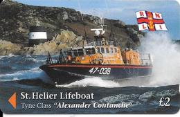 CARTE-MAGNETIQUE-GB-2£-JERSEY-ST HELIER-LIFEBOAT-Alexander Coutanche-TBE - Royaume-Uni