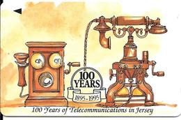 CARTE-MAGNETIQUE-GB-2£-JERSEY-1995-100 ANS Du TELEPHONE A JERSEY-TBE - Royaume-Uni