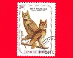 HAITI - Etichetta Fantasia - 1975 - Uccelli - Birds - Oiseaux - Gufo - Bubo Virginianus - 2.50 - Etichette Di Fantasia