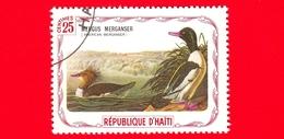 HAITI - Etichetta Fantasia - 1975 - Uccelli - Birds - Oiseaux - Smergo Maggiore - Mergus Merganser - 25 - Etichette Di Fantasia