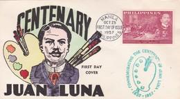 1957 COVER FDC PHILIPPINES: CENTENARY JUAN LUNA - BLEUP - Philippines