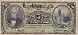 BILLETE DE MEXICO DE 5 PESOS DEL AÑO 1910 BANCO DE AGUASCALIENTES  (BANKNOTE) MUY RARO - México