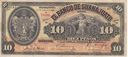 BILLETE DE MEXICO DE 10 PESOS DEL AÑO 1914 BANCO DE GUANAJUATO  (BANKNOTE)  RARO - Mexico