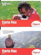 2 CARTES- PREPAYEES-HAITI-2011-50/100 Gdes-GSM-DIGICEL-CARTE FLEX-GRATTE-TBE - Haiti