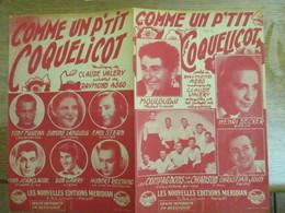 COMME UN P'TIT COQUELICOT  MOULOUDJI,LES COMPAGNONS DE LA CHANSON PAROLES DE RAYMOND ASSO MUSIQUE DE CLAUDE VALERY 1951 - Partitions Musicales Anciennes